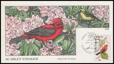 2306 / 22c Scarlet Tanager 1987 Collins Hand-Painted First Day Cover