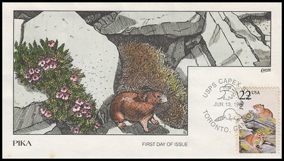 2319 / 22c Pika (ink spots see pic) 1987 Collins Hand-Painted First Day Cover