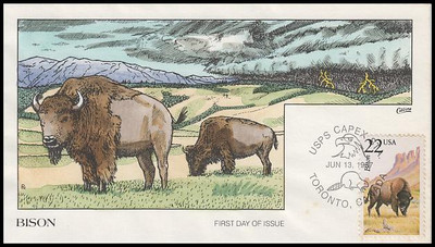 2320 / 22c Bison 1987 Collins Hand-Painted First Day Cover