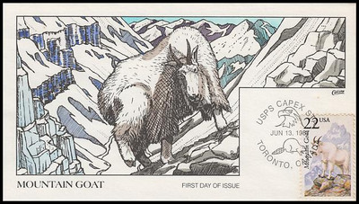 2323 / 22c Mountain Goat 1987 Collins Hand-Painted First Day Cover