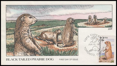 2325 / 22c Black-Tailed Prairie Dog 1987 Collins Hand-Painted First Day Cover