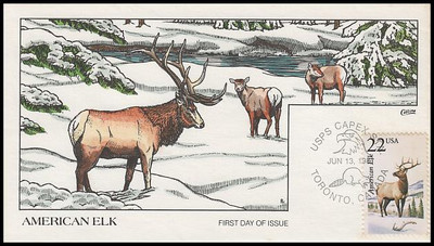2328 / 22c American Elk 1987 Collins Hand-Painted First Day Cover