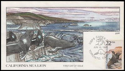 2329 / 22c California Sea Lion 1987 Collins Hand-Painted First Day Cover
