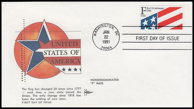 """2522 / 29c """"F"""" Plastic Stamp Gill Craft 1991 First Day Cover"""