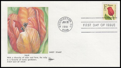 "2517 / 29c Tulip ""F"" Rate Change Gill Craft 1991 First Day Cover"