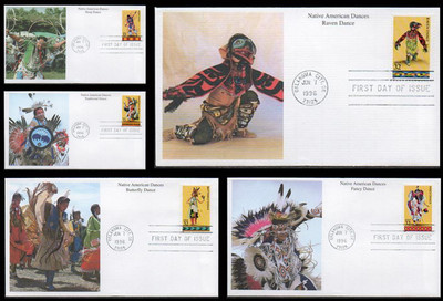 3072 - 3076 / 32c Native American Indian Dances Set of 5 Mystic 1996 FDCs