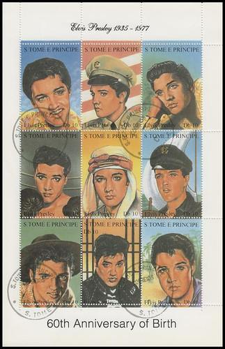 1166a-i / Db 10 Elvis Presley São Tomé and Príncipe 1994 CTO 9 Stamp Se-Tenant Sheet