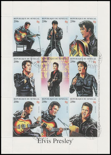 1350 / 250F Elvis Presley Senegal 1999 CTO 9 Stamp Se-Tenant Sheet