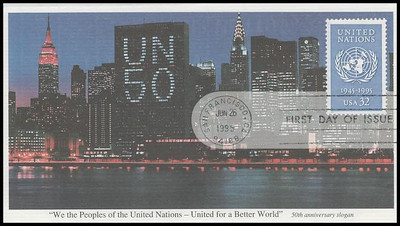 2974 / 32c United Nations - 50th Anniversary 1995 Mystic First Day Cover