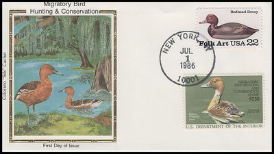 RW53 / $7.50 Fulvous Whistling Combo Colorano Silk 1986 First Day Cover
