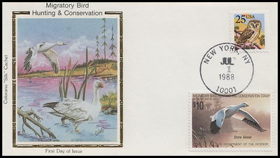 RW55 / $10.00 Snow Goose Combo Colorano Silk 1988 First Day Cover