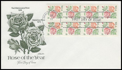 1737a / 15c Medallion Roses Booklet of 8 Artmaster 1978 First Day Cover