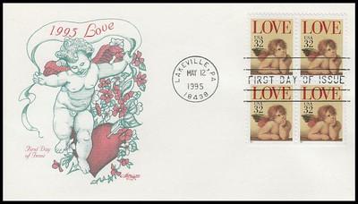 2957 / 32c Love Cherub : Love Series Block of 4 Artmaster 1995 First Day Cover