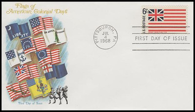1345 - 1354 / 6c Historic American Flags Set of 10 Fleetwood 1968 FDCs