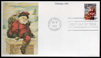 3004 - 3007 / 32c Santa and Children Christmas 1995 Set of 4 Mystic 1995 FDCs
