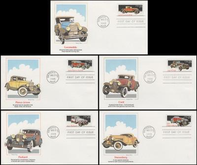 2381 - 2385 / 25c Classic Cars Set of 5 Artist Stanley Paine Fleetwood 1988 FDCs