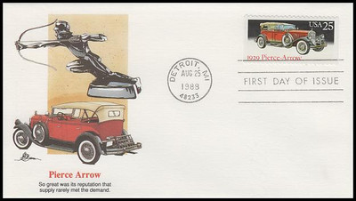 2381 - 2385 / 25c Classic Cars Set of 5 Artist John Benson Fleetwood 1988 FDCs