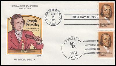 2038 / 20c Joseph Priestley : Dual Cancel 1983 Collins Hand-Painted FDC