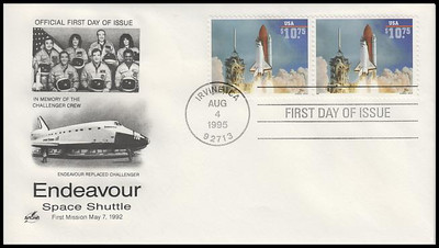 2544A / $10.75 Endeavour Shuttle Taking Off Express Mail Attached Pair 1995 Artcraft FDC