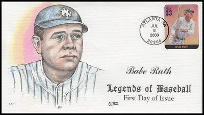 3408H / 33c Babe Ruth : Legends Of Baseball Collins Hand-Painted 2000 FDC