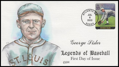 3408E / 33c George Sisler : Legends Of Baseball Collins Hand-Painted 2000 FDC