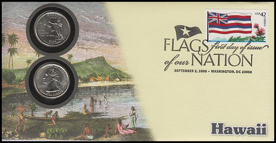 4287 / 42c Flags Of Our Nation : Hawaii State Quarter Coin Fleetwood 2008 First Day Cover