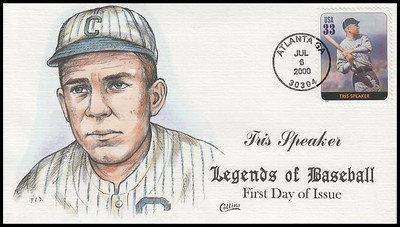 3408l / 33c Tris Speaker : Legends Of Baseball Collins Hand-Painted 2000 FDC