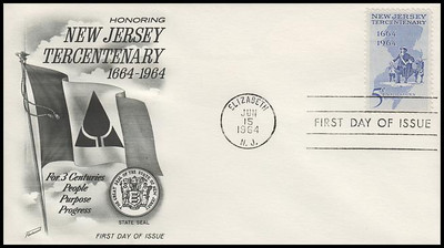 1247 / 5c New Jersey Tercentenary 1964 Fleetwood First Day Cover
