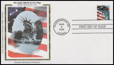 3979 / 39c Statue of Liberty and Flag Coil Colorano Silk 2006 FDC