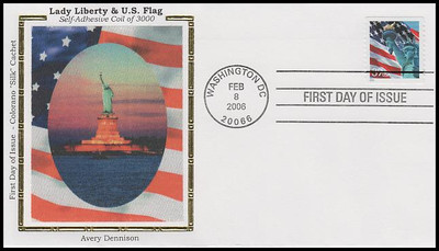 3980 / 39c Statue of Liberty and Flag Single From Coil of 3000 Colorano Silk FDC