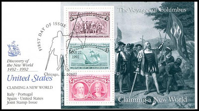 2624 - 2629 / 1c - $5 Columbus Souvenir Sheets Set of 6 Fleetwood 1992 FDCs