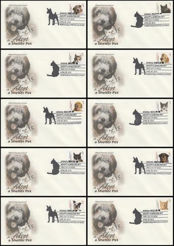 4451 - 4460 / 44c Adopt a Shelter Pet Set of 10 Artcraft 2010 FDCs
