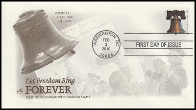 4437 / 44c Forever Liberty ATM Booklet Single Artcraft 2010 First Day Cover