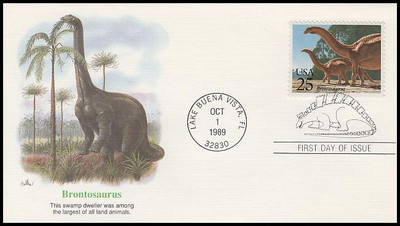 2422 - 2425 / 25c Prehistoric Animals / Dinosaurs Set of 4 Fleetwood 1989 First Day Covers