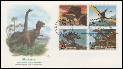 2425a / 25c Prehistoric Animals / Dinosaurs Se-Tenant Block Fleetwood 1989 First Day Cover