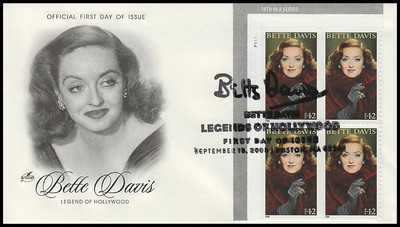 4350 / 42c Bette Davis :  Legends of Hollywood Plate Block 2008 Artcraft FDC