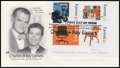 4333a - p / 42c Charles & Ray Eames : Modern Design All Stamps On 4 Plus Plate Block Artcraft 2008 FDCs