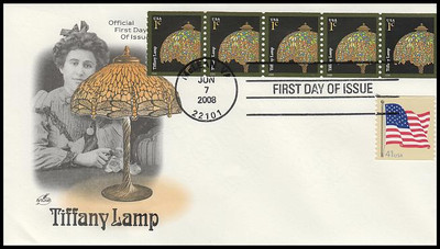 3758a / 1c Tiffany Lamp Plate Number Coil Strip Artcraft 2008 FDC