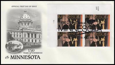 4266 / 42c Minnesota Statehood Plate Block Artcraft 2008 FDC