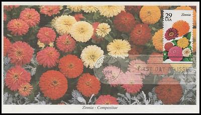 2829 - 2833 / 29c Summer Garden Flowers Booklet Set of 5 Mystic 1994 FDCs