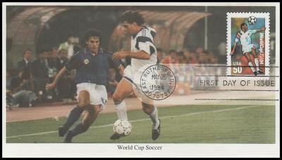 2834 - 2836 /  29c, 40c, 50c World Cup Soccer Championships Set of 3 Mystic 1994 FDCs