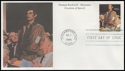 2840a - d / 50c Norman Rockwell Set of 4 Mystic 1994 FDCs
