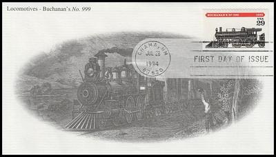2843 - 2847 / 29c Locomotives Set of 5 Mystic 1994 FDCs