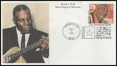 2854 - 2861 / 29c Jazz and Blues Singers Set of 8 : American Music Series 1994 Mystic FDCs