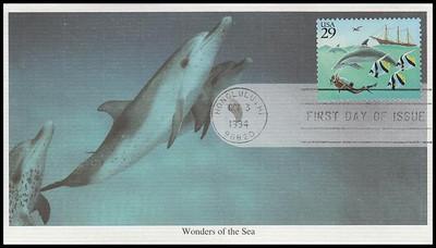2863 - 2866 / 29c Wonder Of The Sea Set of 4 Mystic 1994 FDCs