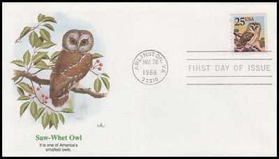 2284 - 2285 / 25c Grosbeak and Owl Set of 2 Fleetwood 1988 FDCs