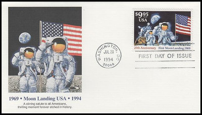 2842 / $9.95 First Moon Landing 25th Anniversary Express Mail 1994 Fleetwood FDC