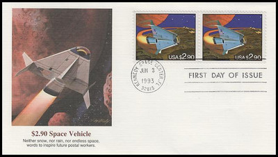 2543 / $2.90 Priority Mail Futuristic Space Shuttle Attached Pair 1993 Fleetwood FDC