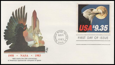 1909 / $9.35 Eagle and Full Moon Express Mail 1983 Fleetwood FDC ( Light Toning Throughout )
