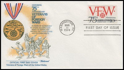 1525 / 10c Veterans of Foreign Wars Special Edition Set of 6 Different Cachets 1974 Fleetwood FDCs